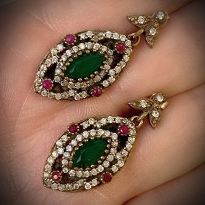 EMERALD RUBY GEMS EARRINGS Solid 925 Silver/Gold